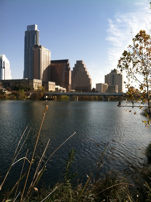 Bridge and downtown and  Town Lake
